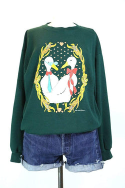 1990s Women's Printed Sweatshirt - Green M