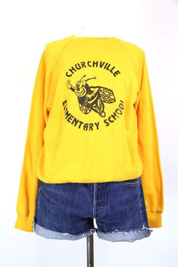 1990s Women's Printed School Sweatshirt - Yellow S