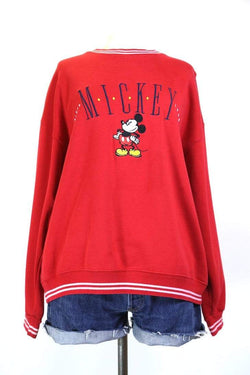 1990s Women's Mickey Mouse Disney Sweatshirt - Red L