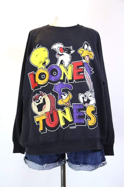Women's Looney Tunes Printed Sweatshirt - Black XL