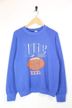 Men's Lite Beer Printed Sweatshirt - Blue M