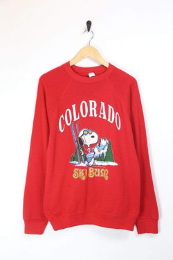 Loot Vintage Sweatshirt M / Red / Cotton Men's Snoopy Printed Sweatshirt - Red M