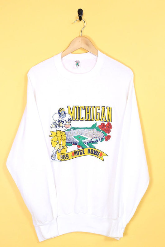 Loot Vintage Sweatshirt Med / White Vintage White Michigan Sweatshirt