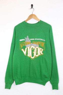 1980s Men's ESPN Printed Sweatshirt - Green M