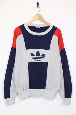 1980s Men's Adidas Trefoil Sweatshirt - Grey S