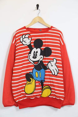 1990s Women's Mickey Mouse Reversible Sweatshirt - Red M