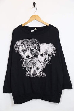 1980s Women's Puppy Sweatshirt - Black XL