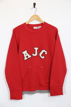 1990s Women's Sports Sweatshirt - Red M