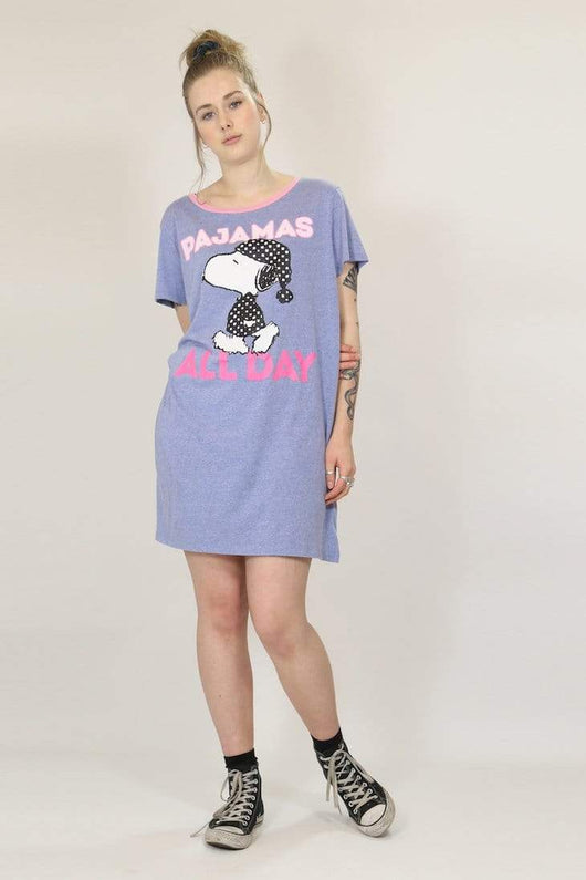 Loot Vintage T-Shirt one size / blue / cotton Women's Snoopy Night Dress - Blue ONE SIZE