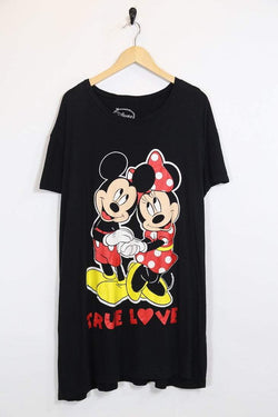 Women's Mickey & Minnie Nighty - Black ONE SIZE