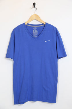 2000s Men's Nike V Neck T-shirt - Blue L