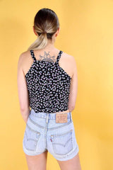Loot Vintage Top 10 / Black Vintage Reworked Ditsy Print 90s Top