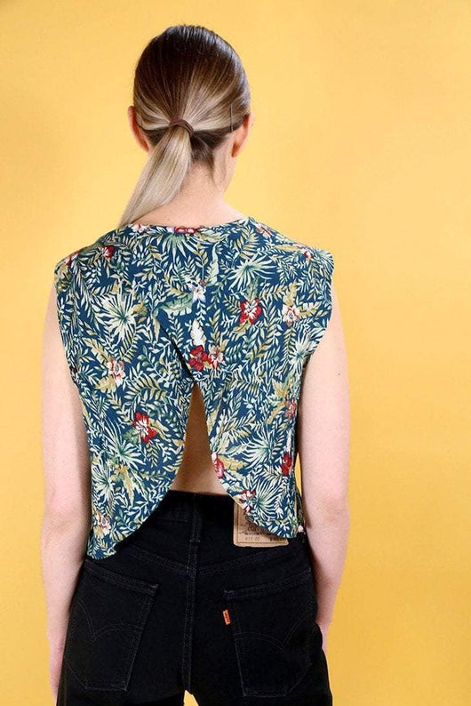 Loot Vintage Top 10 / Multi Vintage Reworked Forest Open Back Top