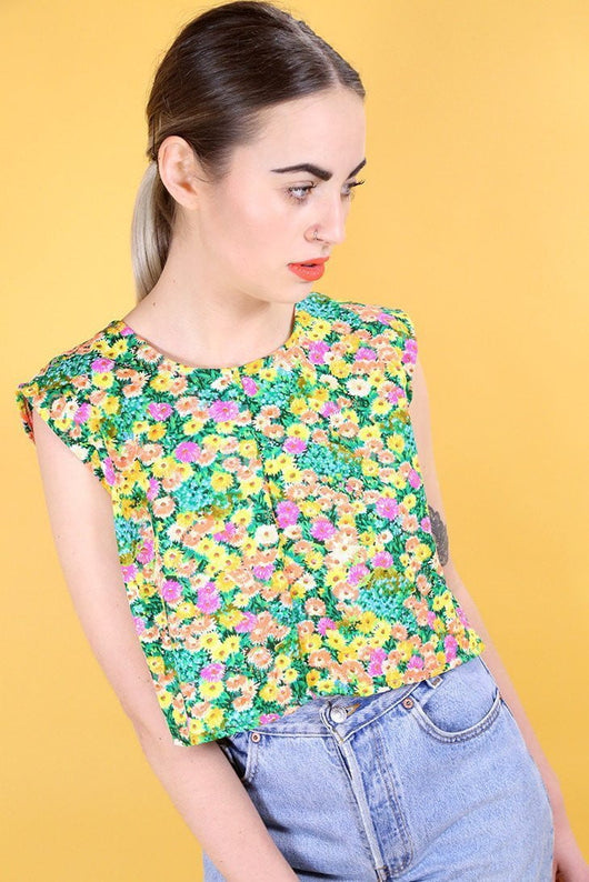 Reworked Criss Cross Floral Top - Multi S - Loot Vintage