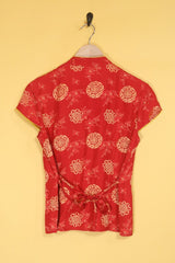 Loot Vintage Top Mandarin Collar Top
