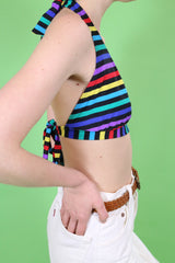 Loot Vintage Top Rainbow Stripe Bikini Top