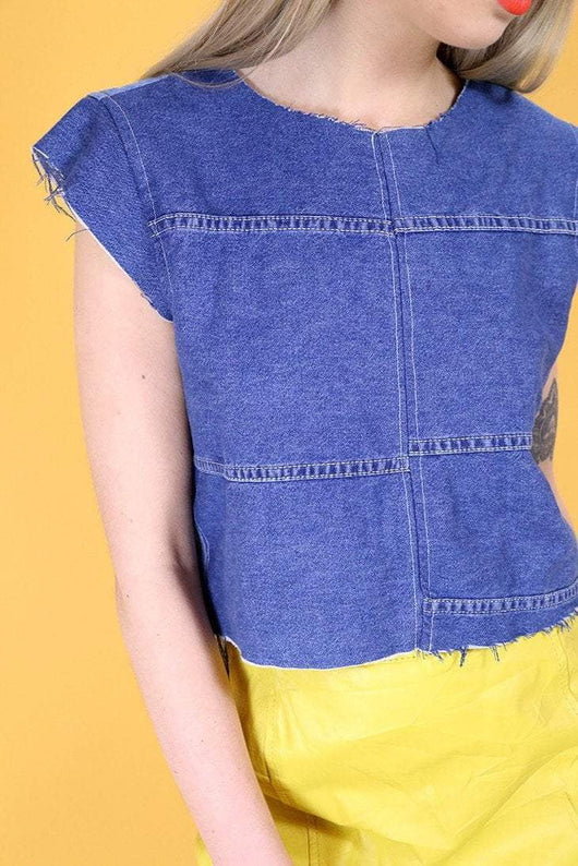 Loot Vintage Top S / Blue Vintage Reworked Denim Patchwork Top