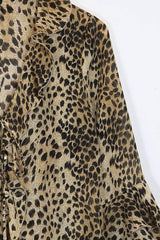 Loot Vintage Top S / Brown / Polyester Women's Leopard Print Shirt - Brown S