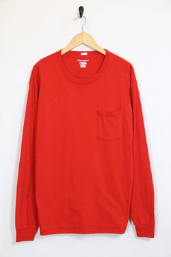 Men's Champion Long Sleeved Top - Red L