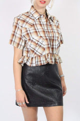 Loot Vintage Top Vintage Reworked Checked Shirt