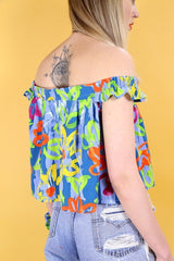 Loot Vintage Top Vintage Reworked Neon Bardot Top