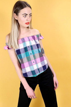 Reworked Square Bardot Top - Multi S - Loot Vintage