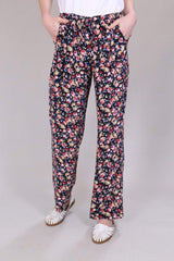 Loot Vintage Trousers 10 / Black Blossom Print Trousers - Retro