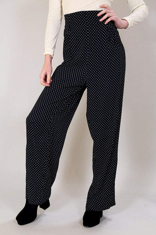 Loot Vintage Trousers 12 / Black Polka Dot Wide Leg Trousers
