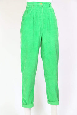 Loot Vintage Trousers High Waisted Cord Trousers - Green M