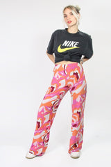 Loot Vintage Trousers High Waisted Swirl Flares