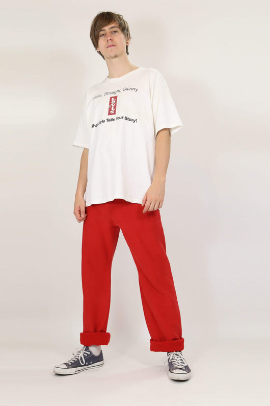 Loot Vintage Trousers L / Red / Cotton *Men's Champion Track Pants - Red L