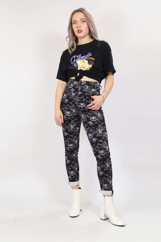 Loot Vintage Trousers S / Black / Cotton *Women's Floral Trousers - Black S