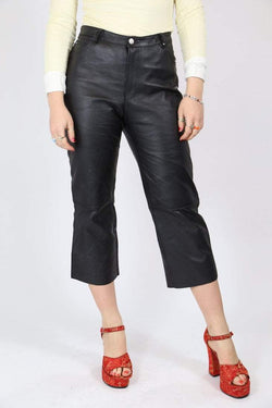 Loot Vintage Trousers Vintage Cropped Leather Trousers