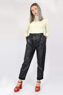 Loot Vintage Trousers Vintage High Waisted Leather Trousers