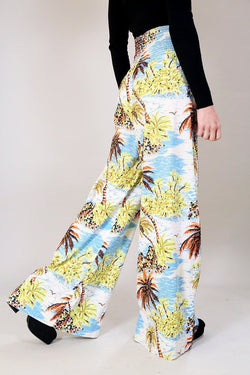 Loot Vintage Trousers Wide Leg Tropical Print Trousers