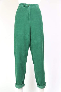 Loot Vintage Trousers Women's High Rise Corduroy Trousers - Green L