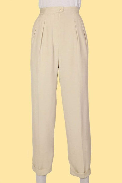 Loot Vintage Trousers Women's High Rise Tapered Trousers - Cream S