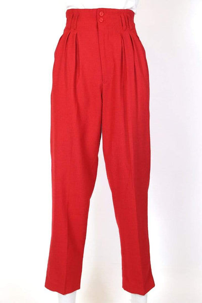 Women's High Rise Pleated Trousers - Red M