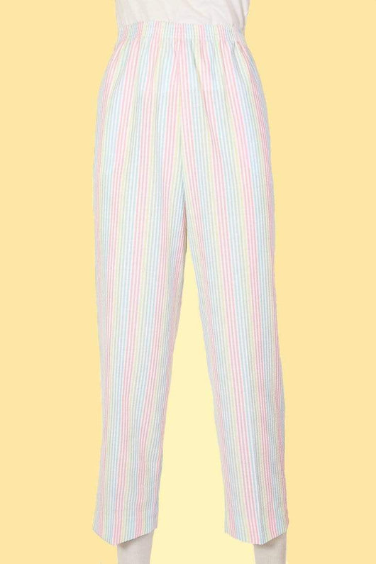 Women's High Waisted Striped Trousers - Multi S
