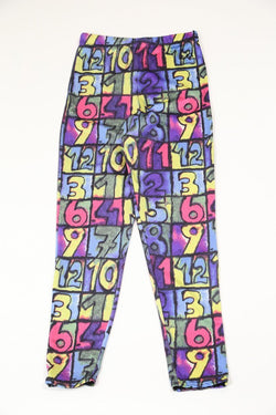 Women's Number Print Leggings - Purple XS