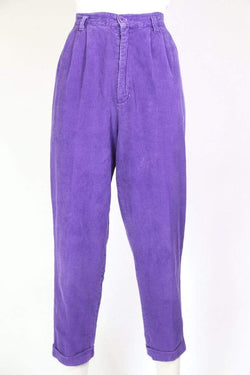 Loot Vintage Trousers Women's Super High Rise Corduroy Trousers - Purple S