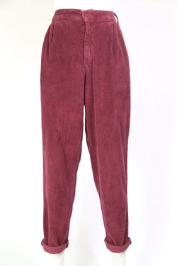 Loot Vintage Trousers Women's Super High Rise Corduroy Trousers - Red M