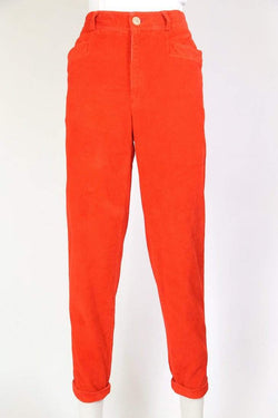 Loot Vintage Trousers Women's Super High Rise Corduroy Trousers - Red S