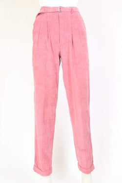 Loot Vintage Trousers Women's Super High Waisted Cord Trousers - Pink S