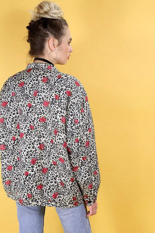 Loot Vintage Windbreaker 10 / Black Rose Leopard Quilted Jacket