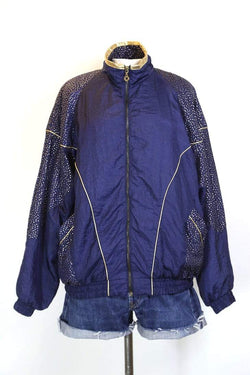 Women's Polka Dot Panelled Windbreaker Jacket - Blue M