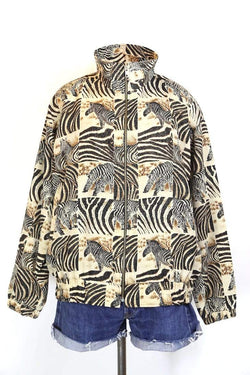 Women's Zebra Print Windbreaker Jacket - Multi XL