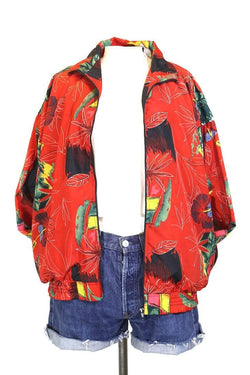 Women's Floral Printed Windbreaker Jacket - Red L