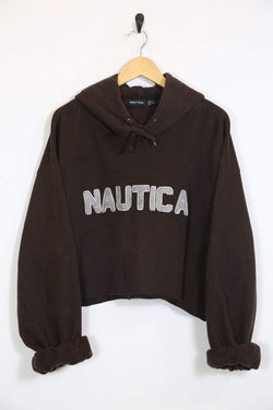 1990s Women's Reworked Nautica Cropped Hoodie - Brown PLUS SIZE