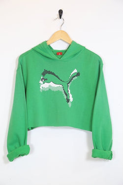 2000s Women's Reworked Cropped Puma Hoodie - Green S